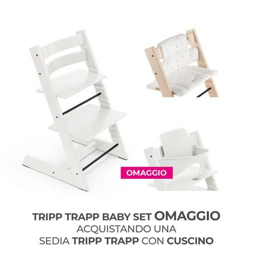 Seggiolone Pappa Tripp Trapp Bianco con Cuscino e Baby Set (Omaggio)  - Telaio  - Ovetto
