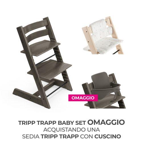 Seggiolone Pappa Tripp Trapp Hazy Grey con Cuscino e Baby Set (Omaggio)  - Telaio  - Ovetto