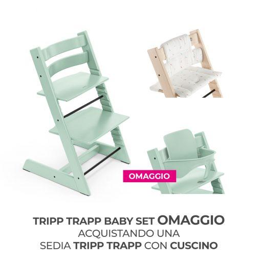 Seggiolone Pappa Tripp Trapp Soft Mint con Cuscino e Baby Set (Omaggio)  - Telaio  - Ovetto