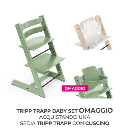 Seggiolone Pappa Tripp Trapp Moss Green con Cuscino e Baby Set (Omaggio)  - Telaio  - Ovetto