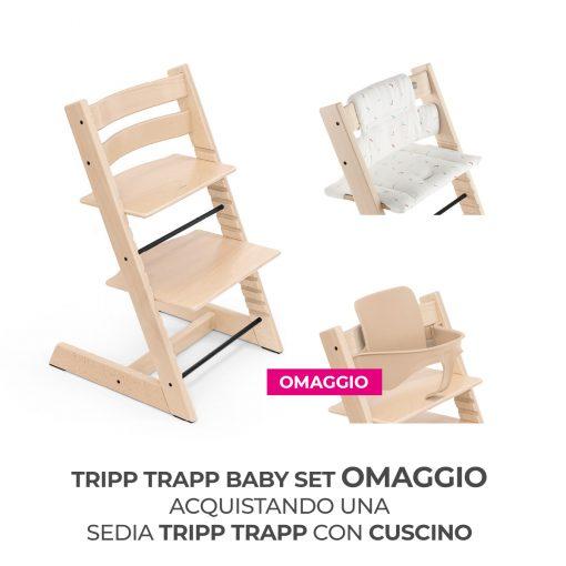Seggiolone Pappa Tripp Trapp Naturale con Cuscino e Baby Set (Omaggio)  - Telaio  - Ovetto