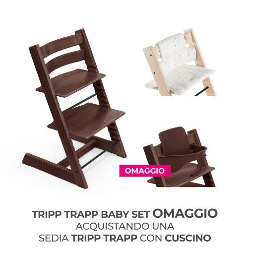 Seggiolone Pappa Tripp Trapp Noce con Cuscino e Baby Set (Omaggio)  - Telaio  - Ovetto
