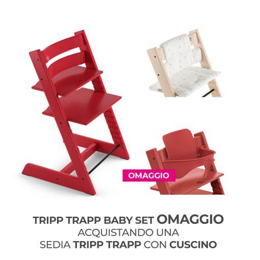 Seggiolone Pappa Tripp Trapp Warm Red con Cuscino e Baby Set (Omaggio)  - Telaio  - Ovetto