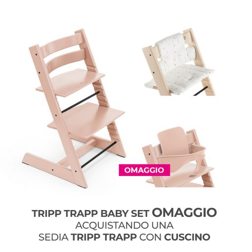 Seggiolone Pappa Tripp Trapp Serene Pink con Cuscino e Baby Set (Omaggio)  - Telaio  - Ovetto