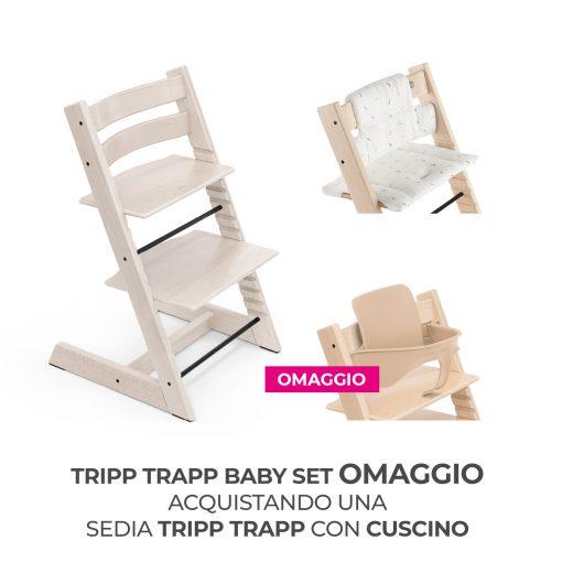 Seggiolone Pappa Tripp Trapp Calce Sbiancato con Cuscino e Baby Set (Omaggio)  - Telaio  - Ovetto