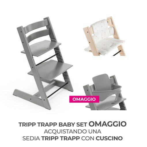 Seggiolone Pappa Tripp Trapp Strom Grey con Cuscino e Baby Set (Omaggio)  - Telaio  - Ovetto